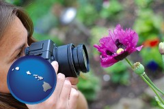 hawaii map icon and a female photographer photographing a flower close-up