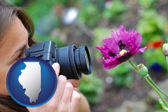 il map icon and a female photographer photographing a flower close-up