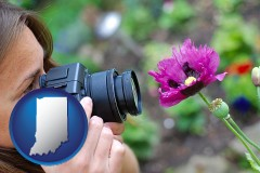 in a female photographer photographing a flower close-up