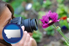 montana map icon and a female photographer photographing a flower close-up