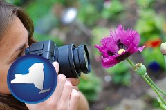 new-york map icon and a female photographer photographing a flower close-up